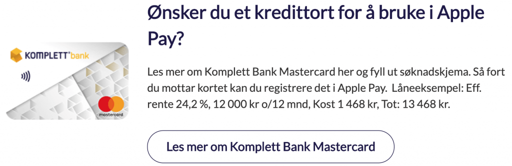Komplett Mastercard kredittkort og Apple Pay