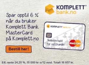 Kredittkortet Komplett Bank Mastercard gir cashback rabatt