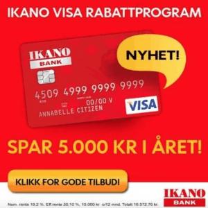 Kredittkortet Ikano Bank VISA gir cashback rabatt