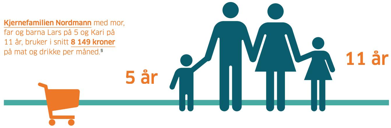 Gjennomsnittlig forbruk per familie per måned på dagligvarer